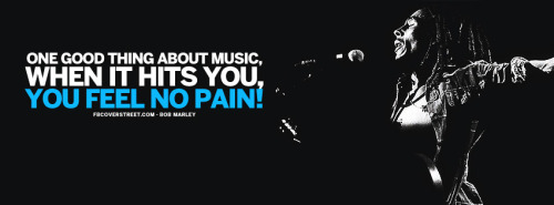 One Good Thing About Music Bob Marley Quote Blue Facebook Cover