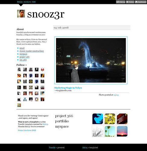 TINAT snooz3r version (via Sid05)Acid cyan and a cool thumbnails in the footer =) snooz3r