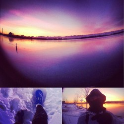 #Toronto Harbour is frozen over this morning. -20c #dawn #running #beautiful #dawn #sunrise (at Corus Quay)