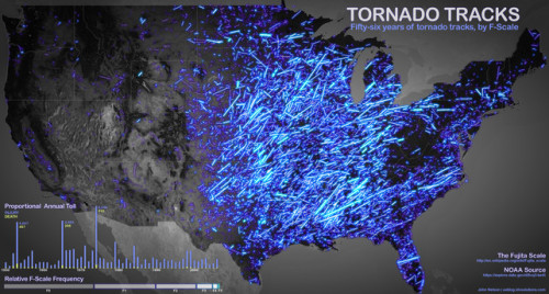 Each glowing etch on this map represents the path of a tornado tracked in the last 56 years by the National Oceanographic and Atmospheric Administration (NOAA).  More striking images of tornado alley