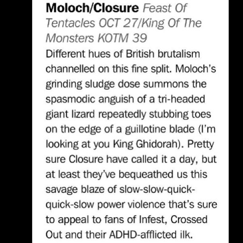 "Moloch / closure split 7"" review in this months Record Collecter #kingofthemonsters #feastoftentacles #closure #moloch #sludge #powerviolence"