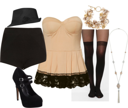 Sassy and Sweet by forever-inspired featuring thigh high opaque tights