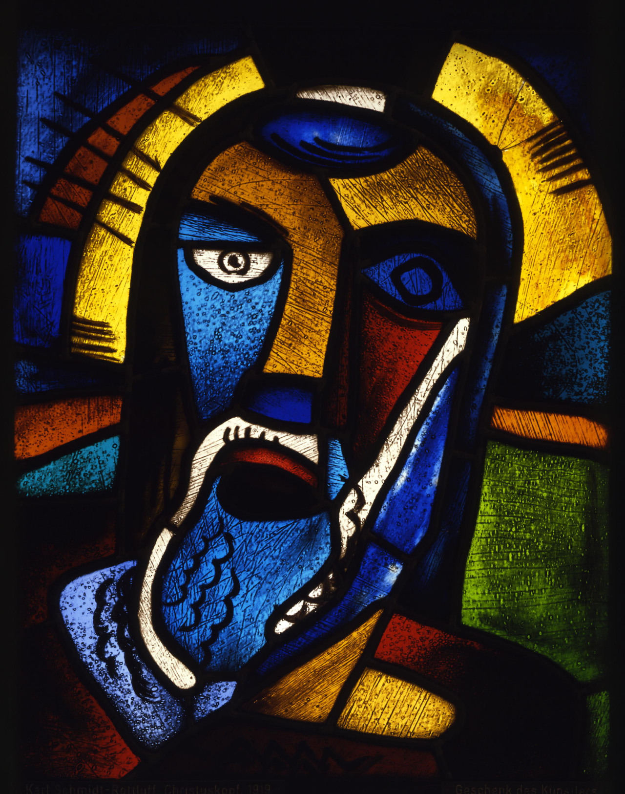 Karl Schmidt-Rotluff: Christuskopf (1919) stained glass