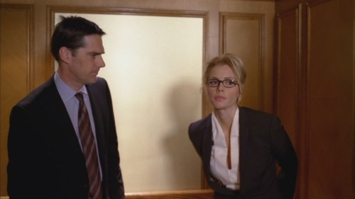 Aaron Hotchner and the cowlick of adorableness and justice.  Politely moving out of the way to let a lady through.