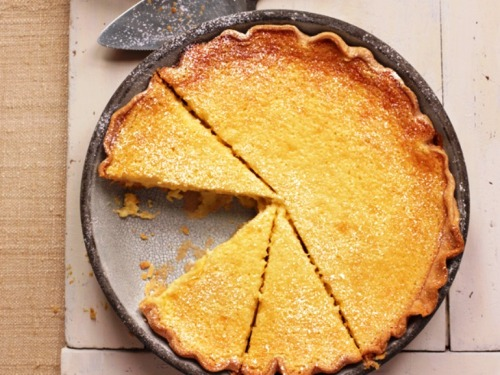 cubbychef:  In honor of Pi day, my Buttermilk Pie recipe.  Ingredients 3 eggs, beaten 4 tbsp flour 1 c sugar 1 1/2 c buttermilk 1/2 c unsalted butter 1 large lemon, zested and juiced. 1 tsp pure vanilla extract 1 unbaked pie crust (store bought is just fine if you haven't mastered pie crust yet) ¼ tsp fresh ground nutmeg ¼ tsp fresh all spice Directions Preheat oven to 425 degrees. Melt butter and set aside to cool slightly. Whisk together egg, flour, and sugar. Slowly whisk in buttermilk, lemon juice, lemon zest and butter. Whisk in vanilla. Pour filling into crust; sprinkle with nutmeg and allspice. Bake 20 minutes. Reduce heat to 325 degrees. Loosely tent with foil. Bake until set, 30 - 35 minutes. Allow to cool. Serve at room temperature. (In the restaurant, I serve mine with a dusting of powdered sugar and pineapple whipped cream.)