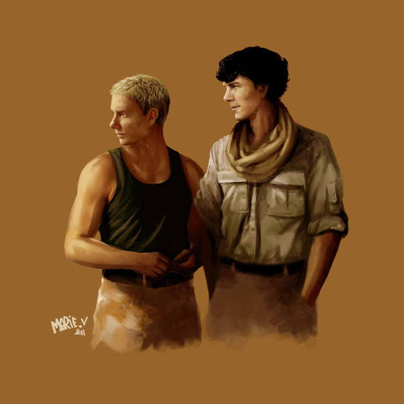 thescienceofjohnlock:  By marielikestodraw. John and Sherlock in Afghanistan. Art for Two Two One Bravo Baker.