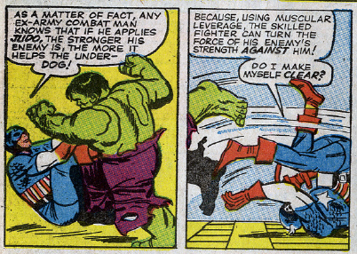 dailyfantastic:  476: FF #26 After two issues of brute force fighting, introducing Cap's judo right now is such a great choice. It's also a great reminder to fans that replacing the Hulk with him wasn't a bad choice for the Avengers to make.