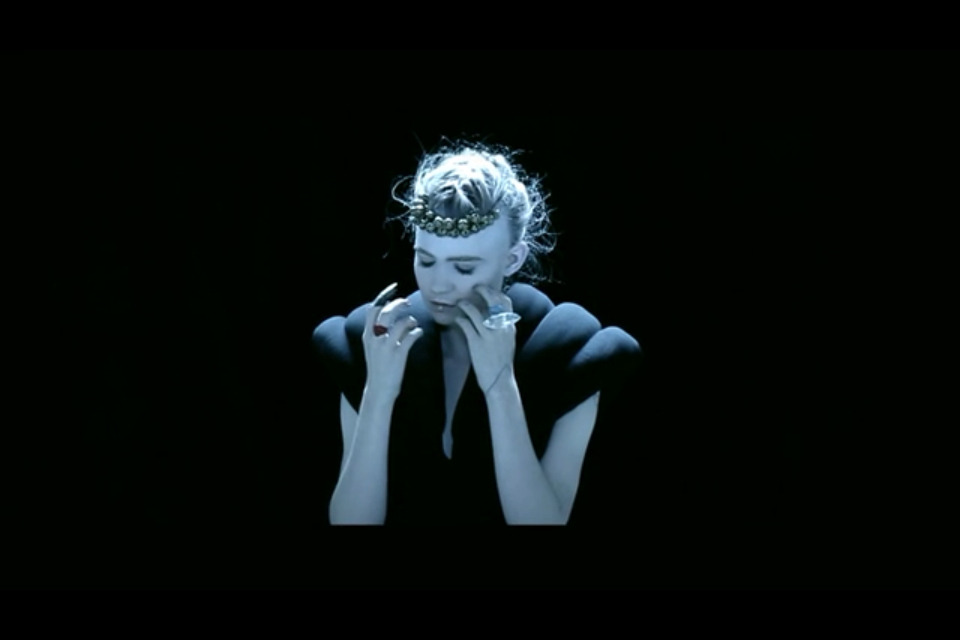 "Still from Grimes music video ""Nightmusic"" http://vimeo.com/m/41851446  Director: John Londono Stylist: Melissa Matos Makeup&Hair: Maïna"