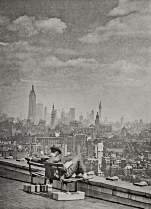 m3zzaluna:  a view of manhattan from across the east river, 1936 photographer unknown, from new york. portrait of a city