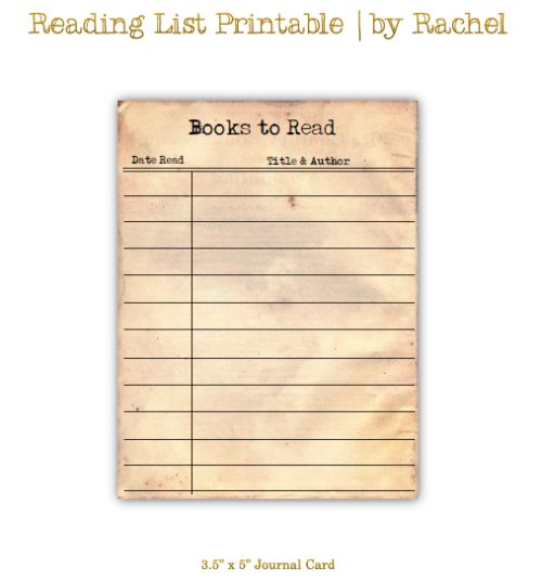 Free Reading List Printable for scrapbooks or journals