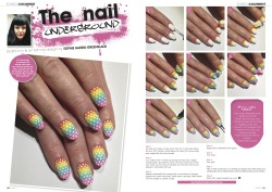 Rainbow polka nails… Scratch Magazine, The Nail Underground, May 2013. Nail tutorial by Sophie Harris-Greenslade at The Illustrated Nail.