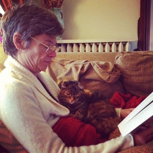 Mom and Lucy reading together. #mom #cat #kitty #catbeingtotallyhelpful