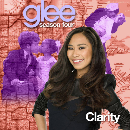 "A Glee album cover (with Season 4 souvenirs) for ""Clarity"" by Zedd featuring Foxes, as sung by Jessica Sanchez and the Hoosierdaddies, from Episode 4x22 ""All or Nothing"" in my Map Backdrop Style."