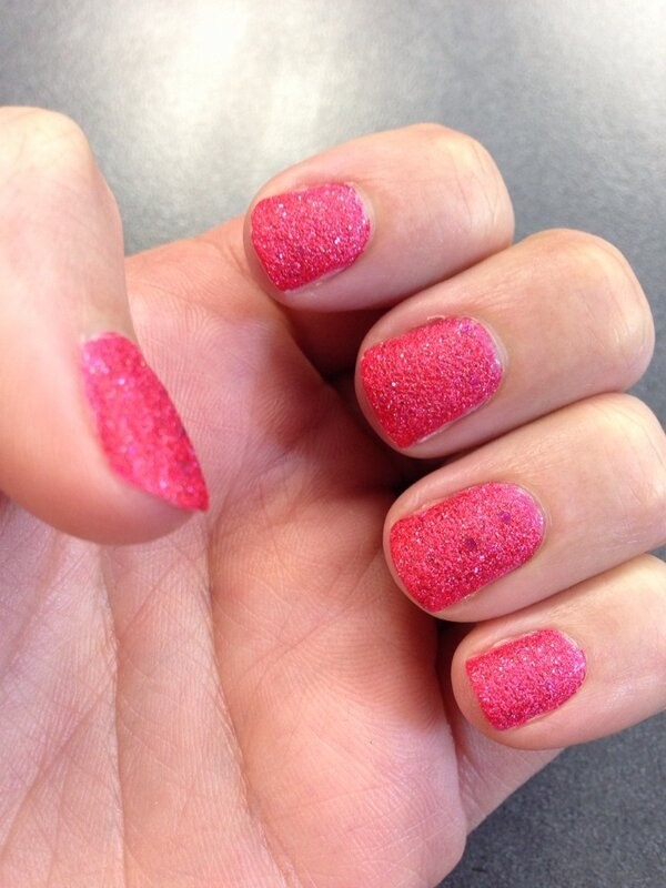 Alida's hot pink sand glitter Valentine's Day nails