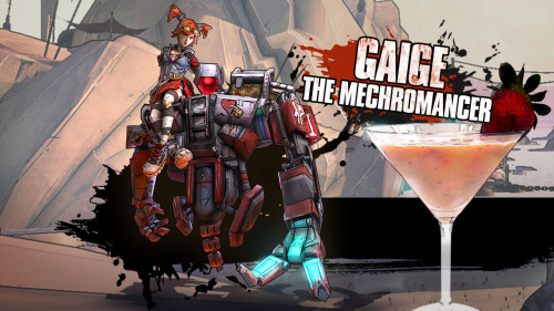 "Gaige / Mechromancer (Borderlands 2 cocktail) Ingredients:1 oz Irish cream1 oz White crème de cacao or White chocolate cream liqueur½ oz Vodka½ oz Berry liqueur (e.g. crème de fraise, crème de framboise, crème de cassis etc)2 medium strawberries1 medium strawberry to garnish Mixing instructions: Crudely dice the 2 medium strawberries. Add the diced strawberries to a cocktail shaker and muddle them until thoroughly crushed and juiced. Fill the cocktail shaker with ice. Add the Irish cream liqueur, white crème de cacao or white chocolate cream liqueur, vodka and berry liqueur to the cocktail shaker. Shake and strain into a chilled cocktail/martini glass. Garnish with a strawberry on the edge of the glass.   ""Don't screw with a girl and her robot!"" Drink created and photographed by Manuka Cliffe."