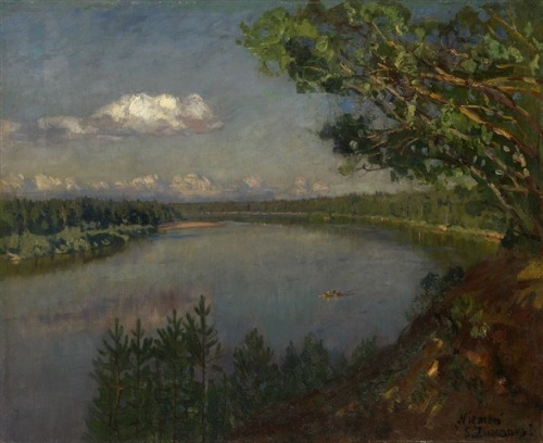blastedheath:  Stanislav Yulianovich Zhukovsky (Polish, 1873-1944), River Neman. Oil on canvas, 54.5 x 66.5 cm.