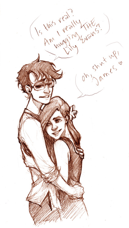"mickisketch:  ""Am I? Am I really??"" James is kind of a dork, and Lily is amused, kind of dorky herself too ^^"