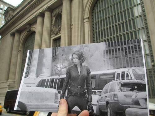 shutupfour:  Historical photographs held in their modern location. Wow, tragically beautiful.