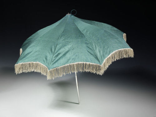 whenasinsilks:   Parasol, silk trimmed with fringe, silver, steel and morocco leather, 1810-11, probably made in London, England.