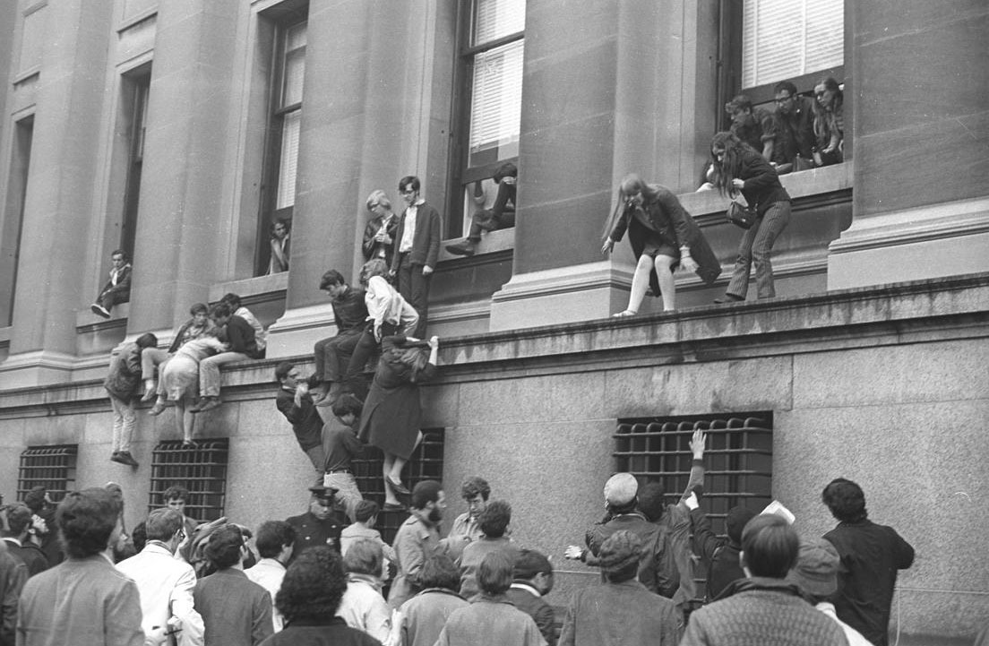 Columbia University, 1968—Students occupy Hamilton Hall. They were protesting the university's complicity with the Institute for Defense Analyses and the Vietnam War, as well as its plan to built a gymnasium in Morningside Park that segregated Columbia students from people living in the surrounding neighborhood (a predominantly Puerto Rican and African American community).