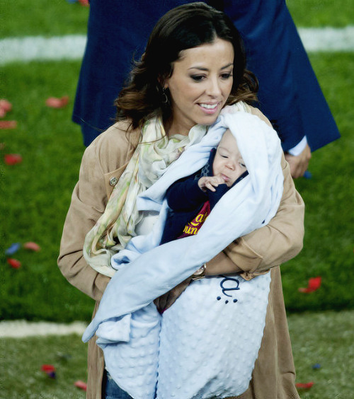 Baby Luca Villa with his mother Partricia Gonzales during la liga celebrations in Camp Nou
