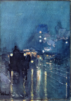 onceagarden:  Nocturne, Railway Crossing, Chicago by Frederick Childe Hassam
