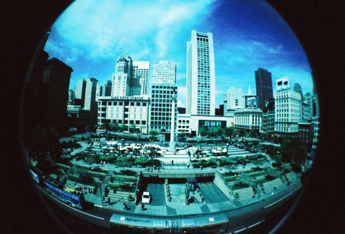 Union Square - Lomography fisheye Cross-processed film