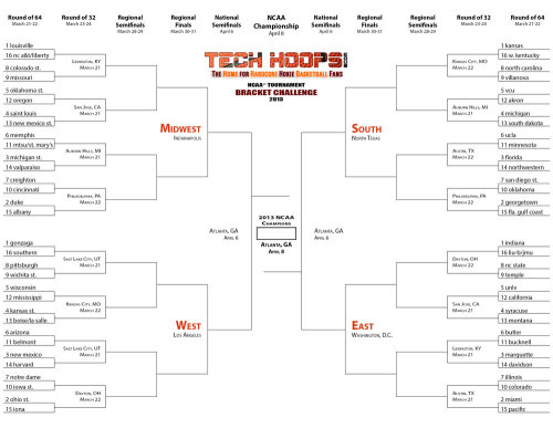 Need a printable NCAA Tournament bracket? Here you go, courtesy of TechHoops.com.