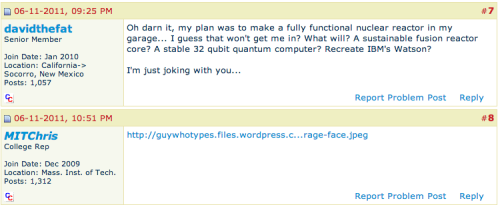 An official college rep from MIT replied to someone's post with a rage face on the college confidential forums