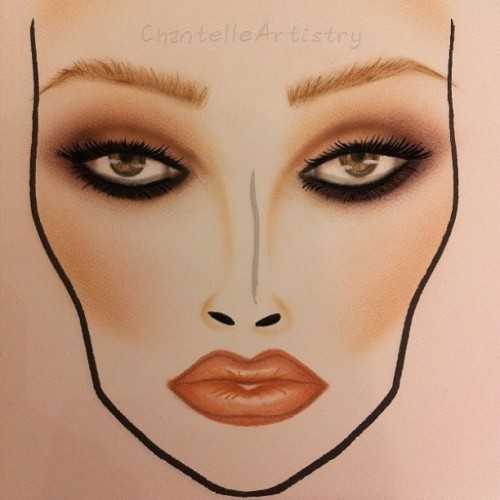 Summer face chart. ☀🌴🌺🎨💄💋 #chantelleartistry #makeupartistry #makeupartist #makeupart #makeupisart #maccosmetics #mac #facechart #makeup #artist #lifeofanartist #ilovemaciggirls #reinspired #summer #trend #smokey #tan #eyes #smokeyeyes #art #drawing #painting