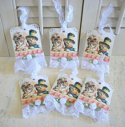 """Cat Couple"" Gift Tags by QueeniesVintageFinds"