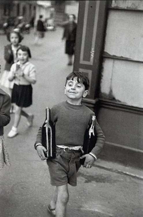 "artnet:  Paris, 1954 ""For me the camera is a sketch book, an instrument of intuition and spontaneity, the master of the instant which, in visual terms, questions and decides simultaneously."" -Henri Cartier-Bresson Taken as a prisoner of war in 1940, Cartier-Bresson escaped on his third attempt in 1943, and subsequently joined an underground organization to assist prisoners and escapees. In 1945, the year this photograph was taken, he photographed the liberation of Paris."