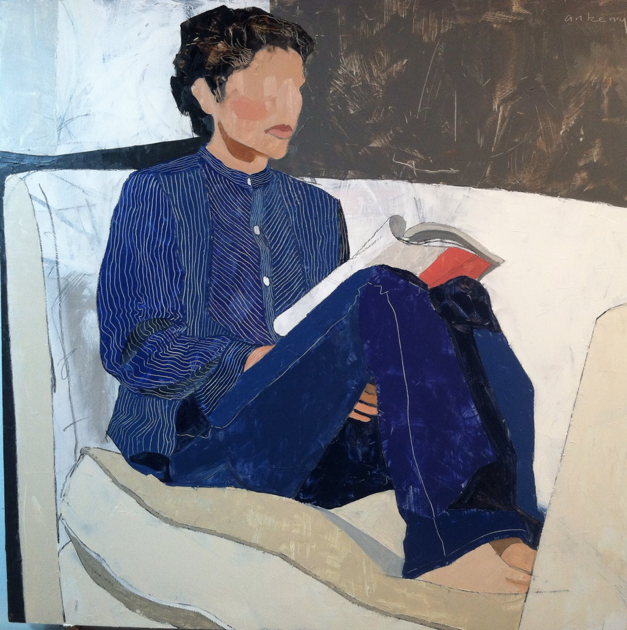 This one completes The Ipswich Suite.   Woman on Couch, 24 x 24 inches, oil on aluminum, 2013