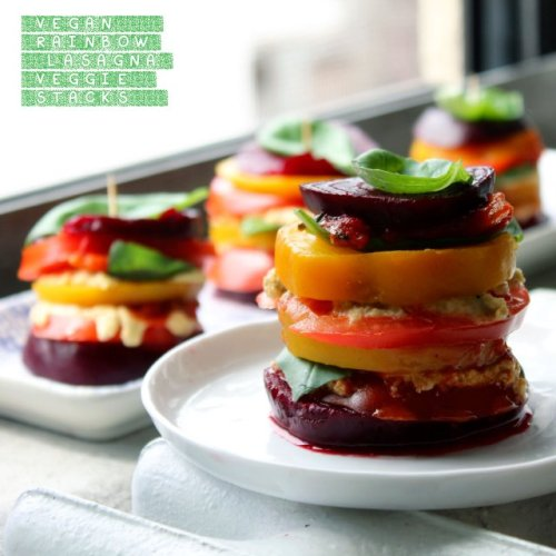 notanotherhealthyfoodblog:  VEGAN RAINBOW LASAGNA VEGGIE STACKS  click here for recipe
