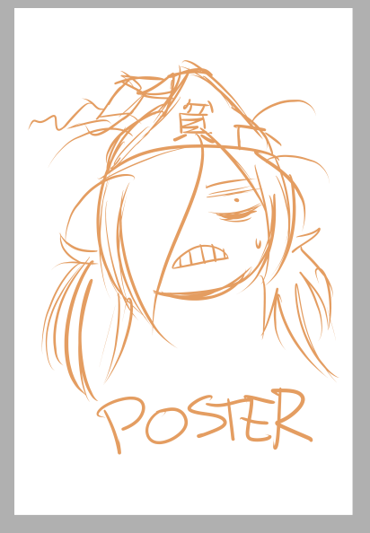 the hardest part of trying to come up with prints is coming up with what should even be on it. for example, this is what came up for my Binbougami Ga! print after hours of wondering how to even begin working on it. this is the same case for my Little Witch Academia poster.