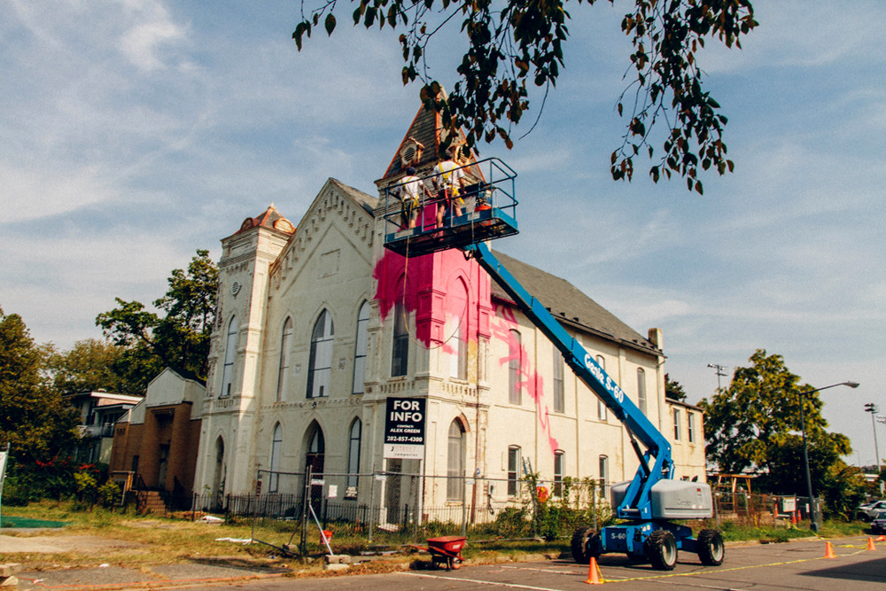 likeafieldmouse:  Hense - 700 Delaware (2012) - Mural on abandoned church  I WANT TO MAKE THAT CHURCH NOT ABANDONED AND WORK IN IT NOW