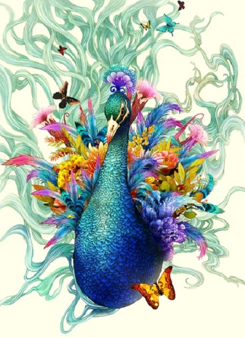 victoriousvocabulary:  PAVONATED [adjective] 1. peacock blue. 2. coloured like a peacock. Etymology: from the Latin pāvō - peacock. [Song Gum Jin]