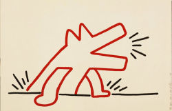 dog drawing art red painting canvas modern Abstract acrylic 1987 87 keith haring curated content contempoary landois