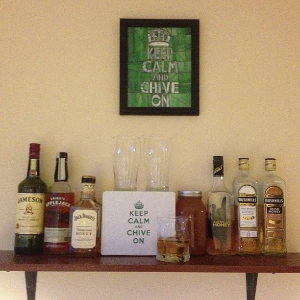 wildchiver:  My whiskey shelf.  I've got a nice whiskey shelf going too, complete with mini oak barrels.