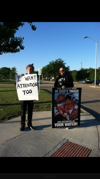 jesusamericanstyle:  An abortion protester came to our school. A student protested with him