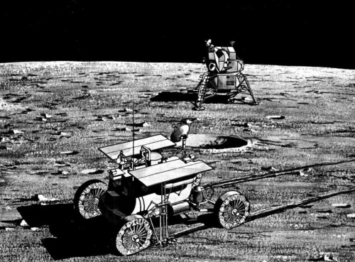 "The Proper Course for Lunar Exploration (1965) image: MOLAB with side-mounted drill (foreground) and Apollo LEM as conceived in 1964-1965. The MOLAB would have arrived on the moon ahead of the piloted LEM on an unmanned LEM Truck. Image: Bendix/NASA  For a time, Thomas Evans headed up the Advanced Lunar Missions Study Program in the NASA Headquarters Office of Manned Space Flight. By the time of the 11th Annual Meeting of the American Astronautical Society (AAS) in May 1965, however, he had retired from NASA and become a farmer in Iowa. This gave him the freedom to speak his mind about what he felt were the Apollo Program's shortcomings.  Evans told assembled members of the AAS that ""the idea of a manned [landing] on the moon was so spectacular…that [it] dominated most pronouncements and thoughts on the space program."" He argued, however, that this objective had ""too much the flavor of a stunt to be the final goal of a $20 billion national effort."" Evans maintained that  [Our] situation today is comparable to one which might have occurred during the railroad building era in America a century ago. It is as if the federal government had invested vast sums in the construction of the first railroad spanning the North American continent, but had procurred only a single engine and caboose… The first crossing by that engine and caboose would have been a major milestone in man's progress and would have been greeted with enthusiasm and applause. But then those responsible for the program would have faced a major decision…Should the project be stopped? Should the engine-caboose be run repeatedly back and forth across the Continent to constantly remind the world of our great achievement? Or should a further modest investment be made in…some freight and passenger cars, to convert the system into something of practical value? Only the last solution would have been tenable then, and only a similar constructive approach would seem acceptable now.  Evans argued that the Saturn rockets and Apollo spacecraft NASA had under development would provide ""an excellent base upon which to build a broad program of manned…lunar exploration beyond the first landing."" Evans pointed to statements by President Lyndon Baines Johnson and Vice-President Hubert Humphrey which he said made clear that ""the United States fully intends to explore the moon, not merely to visit it."" He also noted that NASA expected to be able to launch six Saturn V rockets per year beginning in 1969.  After explaining that ""most Saturn Vs will be used for lunar operations since there are only a limited number of credible missions for this vehicle in earth orbital and planetary programs during the early 1970s,"" Evans outlined four candidate Saturn-Apollo-based lunar exploration programs. In the first, the baseline Apollo program, a single Saturn V rocket would launch a Apollo Command and Service Module (CSM) carrying three astronauts and the Lunar Excursion Module (LEM) (as the Apollo Lunar Module – LM – was known at this time). Two astronauts would land on the moon in the LEM for a one-day stay. They would explore an area 0.2 miles in radius centered on their LEM. The crew would have at its disposal only 250 pounds of payload such as scientific instruments.  Evans's second candidate program would be based on the Apollo Extension System (AES) that NASA had begun to study as early as 1963. This option would, he explained, permit ""sophisticated orbital survey…to gather data on the entire surface of the moon,"" as well as lunar surface stays lasting up to 14 days.  Two Saturn V rockets would be required for each AES lunar surface mission. The first would launch a piloted CSM and an automated cargo LEM loaded with 2500 pounds of supplies and equipment. The CSM would transport the cargo LEM to lunar orbit, then the LEM would separate and land automatically on the moon. The CSM and its crew would then return to Earth. The second Saturn V would launch three astronauts and Apollo CSM and LEM spacecraft ""improved"" to enable long missions. Two astronauts would land in the improved LEM near the cargo LEM, which would serve as their shelter during their 14-day surface stay. They would use a small surface rover or a pair of flying vehicles to explore an area five miles in radius.  The third candidate program, based on Apollo Logistic Support System (ALSS) studies, would also use two Saturn Vs per 14-day surface expedition, but would differ from AES in that the LEM Truck, a beefed-up LEM descent stage capable of delivering four tons of payload to the lunar surface, would replace the cargo LEM. The LEM Truck's principal payload, Evans wrote, would be the Mobile Laboratory (MOLAB), a pressurized rover that would permit two astronauts to explore an area 50 miles in radius.  Evans noted that, in spite of their impressive capabilities, the AES and ALSS cargo delivery systems would be ""inherently inefficient"" because astronauts would need to travel to the moon and back to deliver each automated cargo lander. This would mean that the mass of the CSM systems required for crew support and Earth-return (life support, lunar-orbit departure and course-correction propellants, reentry heat shield, and parachutes) would have to be subtracted from the mass of the payload that the AES and ALSS systems could deliver to the moon's surface.   LESA lunar outpost habitat with advanced crew transport spacecraft in the background. Lunar dirt emplaced atop the habitat provides radiation protection. Image: Boeing/NASA  The fourth program of lunar exploration, Lunar Exploration Systems for Apollo (LESA), would avoid this inefficiency. LESA, Evans explained, was ""a family of shelters, vehicles, and other equipment…tailored to support not only short-term reconnaissance operations by two or three astronauts but also semi-permanent scientific stations manned by up to 12 or even 18 men."" The Saturn V-launched LESA lander would need no CSM, enabling delivery of up to 14 tons of payload. Crew delivery at first would be by improved Apollo CSM and a LEM capable of landing three men on the moon. A 90-day, three-man LESA 1 expedition could explore an area 80 miles in radius; a 365-day, 12-to-18-man LESA 3 outpost with advanced manned landers for crew rotation and resupply could survey an area 200 miles in radius. The former would require a total of three Saturn V launches; the latter, 10 to 17 Saturn V launches.  Developing the AES would cost an additional $500 million over the $20 billion already committed to Apollo, Evans estimated, while ALSS would cost $1 billion. LESA 1 would cost $2 billion – just 10% of the amount already committed to Apollo, he noted – and LESA 3 would evolve from LESA 1 for an additional cost of just $800 million.  Evans then proposed a two-phase lunar program. In Phase I, which would be based on AES, ALSS, or LESA 1, astronauts would explore three areas of the moon judged to be of ""major geoscientific interest"" totaling up to 1800 square miles (""a meager sample,"" Evans noted, ""of the total 10 million square miles of lunar surface""). In Phase II, which would be based on LESA 3 modified for six astronauts, NASA would maintain an outpost on the moon for four years.  Evans compared operations costs for the four programs. He determined that a combination of LESA 1 in Phase I and modified LESA 3 in Phase II would be most economical, with a total cost of less than $8 billion. ALSS/modified LESA 3, with an operations cost of $8.3 billion, would also be economically acceptable, while AES/modified LESA 3 would be ""a disastrous selection"" – together, the two phases would cost a total of about $20 billion.  The retired NASA manager ended his paper by assessing the state of NASA lunar planning. He noted that, of the $26 million allotted to advanced manned systems studies in the Fiscal Year 1965 NASA budget, most was budgeted for examination of inefficient and limited systems such as AES. ""Only a trickle,"" he wrote, would be devoted to the study of ""more sophisticated and efficient systems.""  NASA continued studies of advanced lunar systems throughout the 1960s and on into the 1970s. It focused mainly on AES/ALSS-type missions, which it hoped to fly during the 1970s as part of its Apollo Applications Program (AAP), AES's successor. Apollo did not, however, imply a long-term commitment to lunar exploration, and, as it became increasingly obvious that the Soviet Union had not made a commitment to manned lunar missions of the same magnitude as the United States, interest in post-Apollo advanced manned lunar systems rapidly faded in the White House and in Congress.   Apollo 1 astronauts Roger Chaffee (left), Ed White, and Gus Grissom during training for their mission. Image: NASA  Even more important, the 27 January 1967 Apollo 1 fire undercut NASA advanced plans. The fire killed astronauts Gus Grissom, Ed White, and Roger Chaffee during a launch rehearsal just a few weeks before the planned first manned Apollo mission. The investigation into the cause of the fire revealed engineering and management shortcomings that left Congress in no mood to ""reward"" the agency by funding new space projects. Apollo, which represented a $25-billion investment in national prestige, suffered almost no funding cuts in the fire's immediate aftermath, but AAP lunar missions were among the first to feel the knife.  In the 1969-1971 period, when NASA Adminstrator Thomas Paine's Integrated Program Plan held sway within NASA, the space agency and its contractors studied complex and costly lunar transportation systems (such the Nuclear Shuttle) and lunar bases. Such plans enjoyed no support within the Administration of President Richard Nixon, however, and all IPP planning ceased soon after Paine's resignation in September 1970.  The image at the top of this post illustrates the course that U.S. lunar exploration took after Evans presented his paper. It shows Apollo 17 Commander Eugene Cernan saluting Old Glory in the Taurus-Littrow valley in December 1972. The last of six missions to land on the moon, Apollo 17 left Earth atop the penultimate Saturn V rocket. The mission's jeep-like Lunar Roving Vehicle (visible behind Cernan) ranged up to 7.6 kilometers from its home base, the LM Challenger (behind flag), during three traverses spanning three days. The only professional scientist to reach the moon, Lunar Module Pilot Harrison Schmitt, snapped the picture.  Reference: ""Lunar Exploration: What is the Proper Course?"" Thomas Evans, Post Apollo Space Exploration, Francis Narin, editor, 1965, pp. 647-661; paper presented at the 11th Annual Meeting of the American Astronautical Society in Chicago, Illinois, May 3-6, 1965."