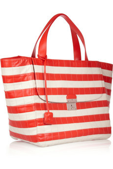 MARC JACOBS Striped leather shopper
