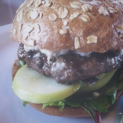 yep… it's their burger of the month. the resurrection lamb burger: sterling silver ground beef blended with ground lamb then topped with a goat cheese and candied pecan spread, covered in pure light amber honey with baby greens and sliced granny smith apples all sandwiched between a honey wheat bun. (at Slater's 50/50)