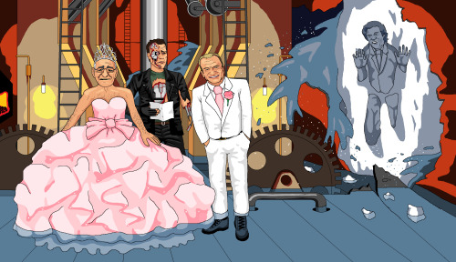 jimllpaintit:  Dear Jim, Please paint me Bobby Davro & Jim Bowen having a Big Fat Gypsy Wedding in the engine room of the rapidly sinking Titanic. Lionel BLAIR is visible through a vicious tear in the hull, frozen in the iceberg. Battle-damaged Arnie from T2 is the bemused registrar. Thank you, Alex Hay