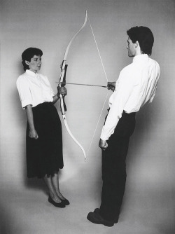 "brown-eyes-blue:  ""Rest Energy"" Marina Abramović & Ulay, 1980."