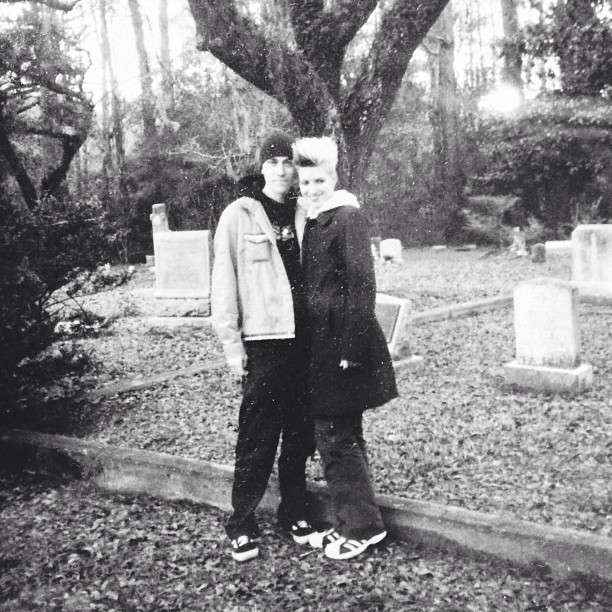 Me and KT in an old Mississippi bayou cemetery, 2001.
