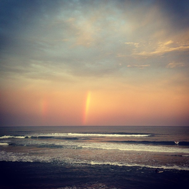 Double whammy rainbow bliss.  #sunshinecoast #sunset #rainbow #waves #ocean #surf #clouds (at Coolum Boardwalk)