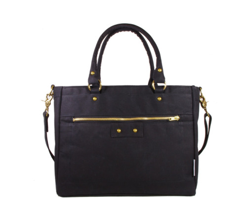 Now available in black!http://nikolettebags.com/margot-tote/waxed-canvas-danni-zip-front-tote-black.html