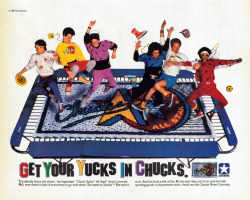 "allaboutthe1980s:  bibberly:  Converse ad, 1987.  ""get your 'yucks' in Chucks.""  SERIOUSLY, CONVERSE?! :/"