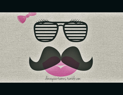 A girl with a mustache. weirdooo.